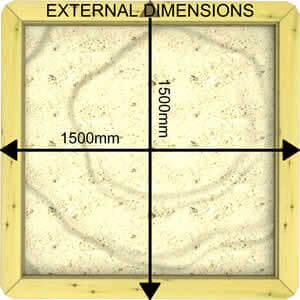 Image of External Dimensions of a 27mm 1.5m x 1.5m Sandpit