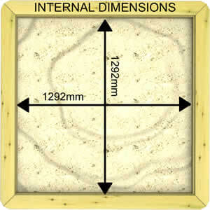 Image of Internal Dimensions of a 27mm 1.5m x 1.5m Sandpit