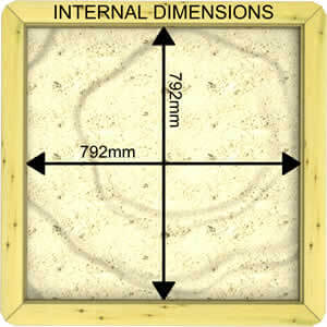 Image of Internal Dimensions of a 27mm 1m x 1m Sandpit