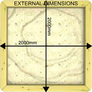 Image of External Dimensions of a 44mm 2m x 2m Sandpit